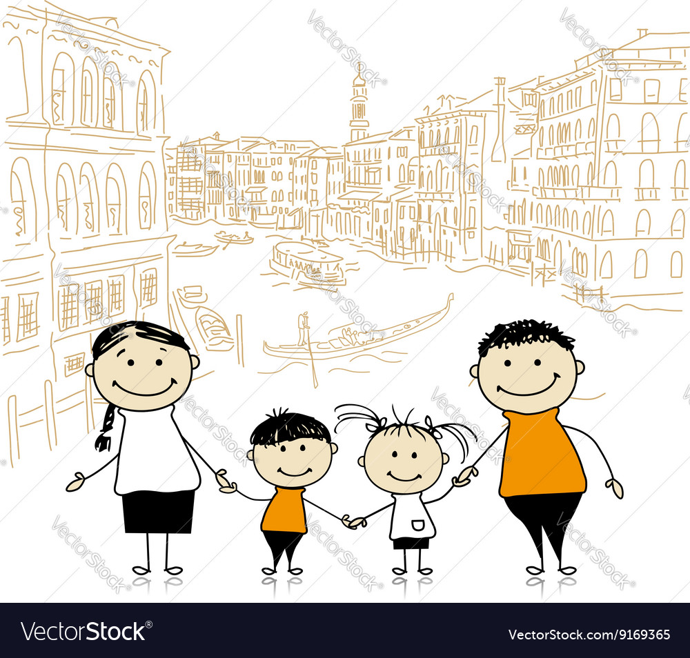 Happy family traveling in Venice Sketch for your