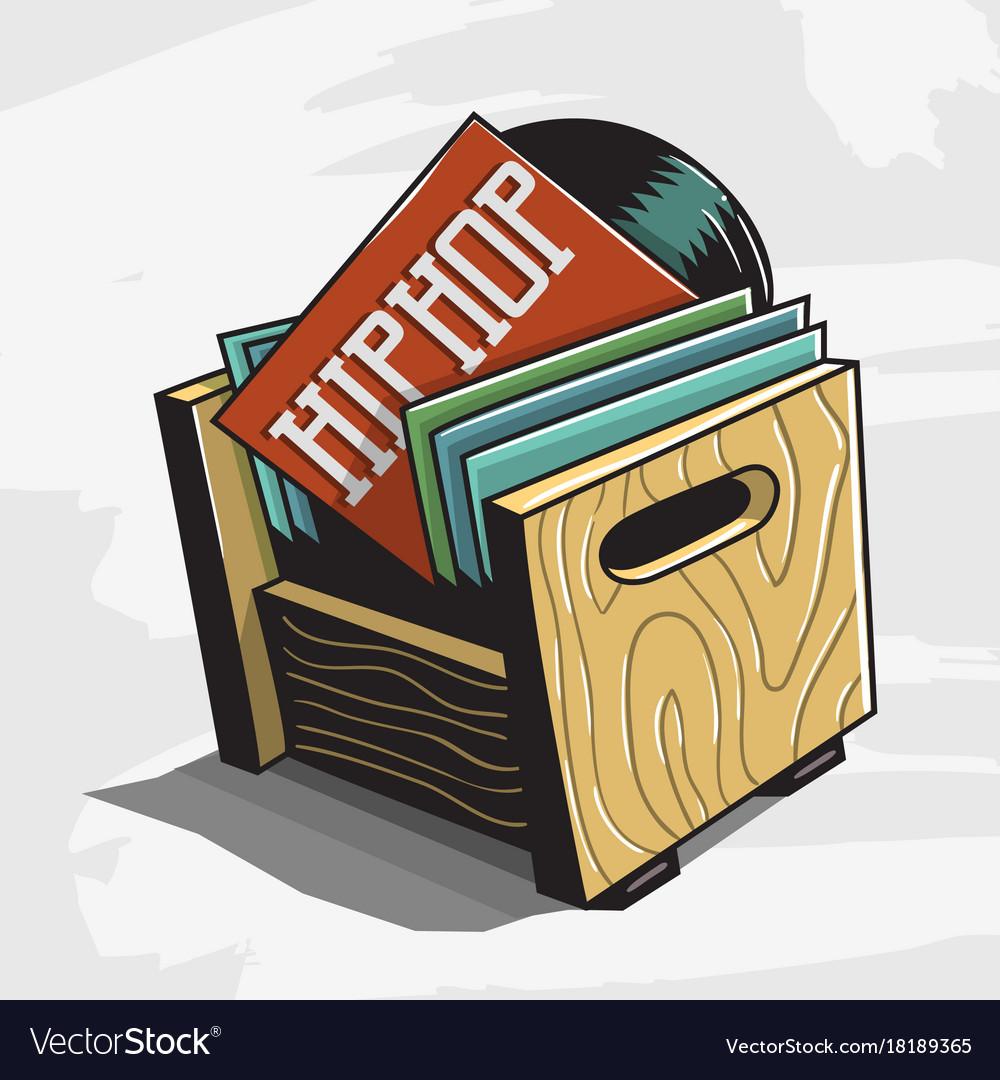 Hip hop vinyl records storage box image
