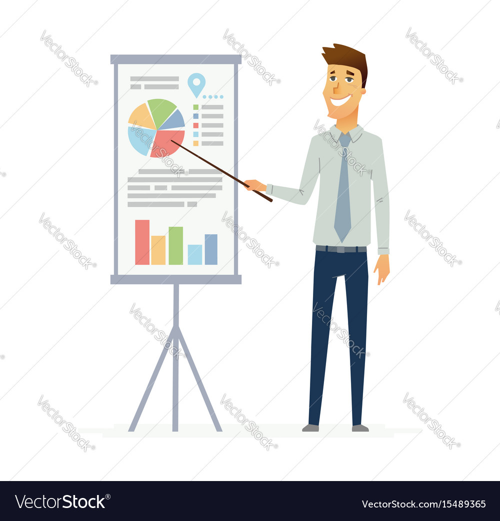 Male presenter - modern flat composition vector image