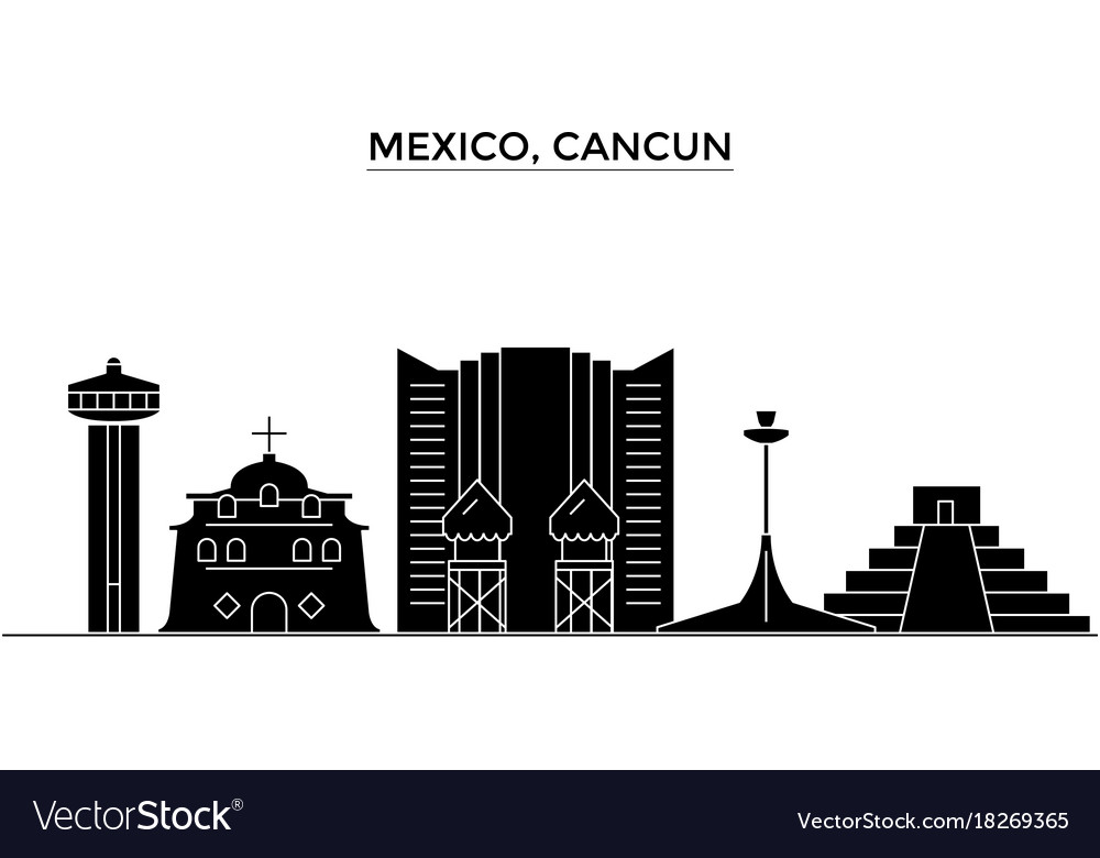 Mexico Cancun Architecture City Skyline Royalty Free Vector