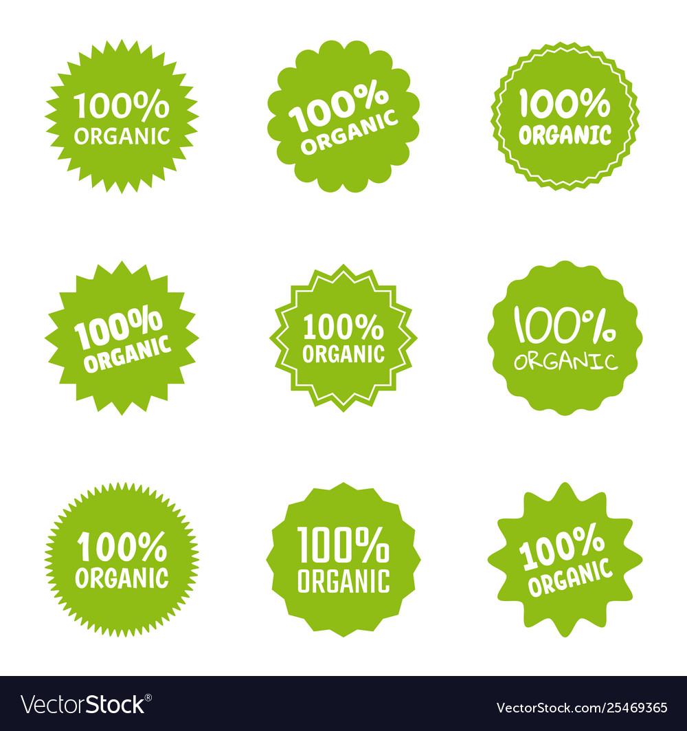 Organic logo icon set healthy food labels