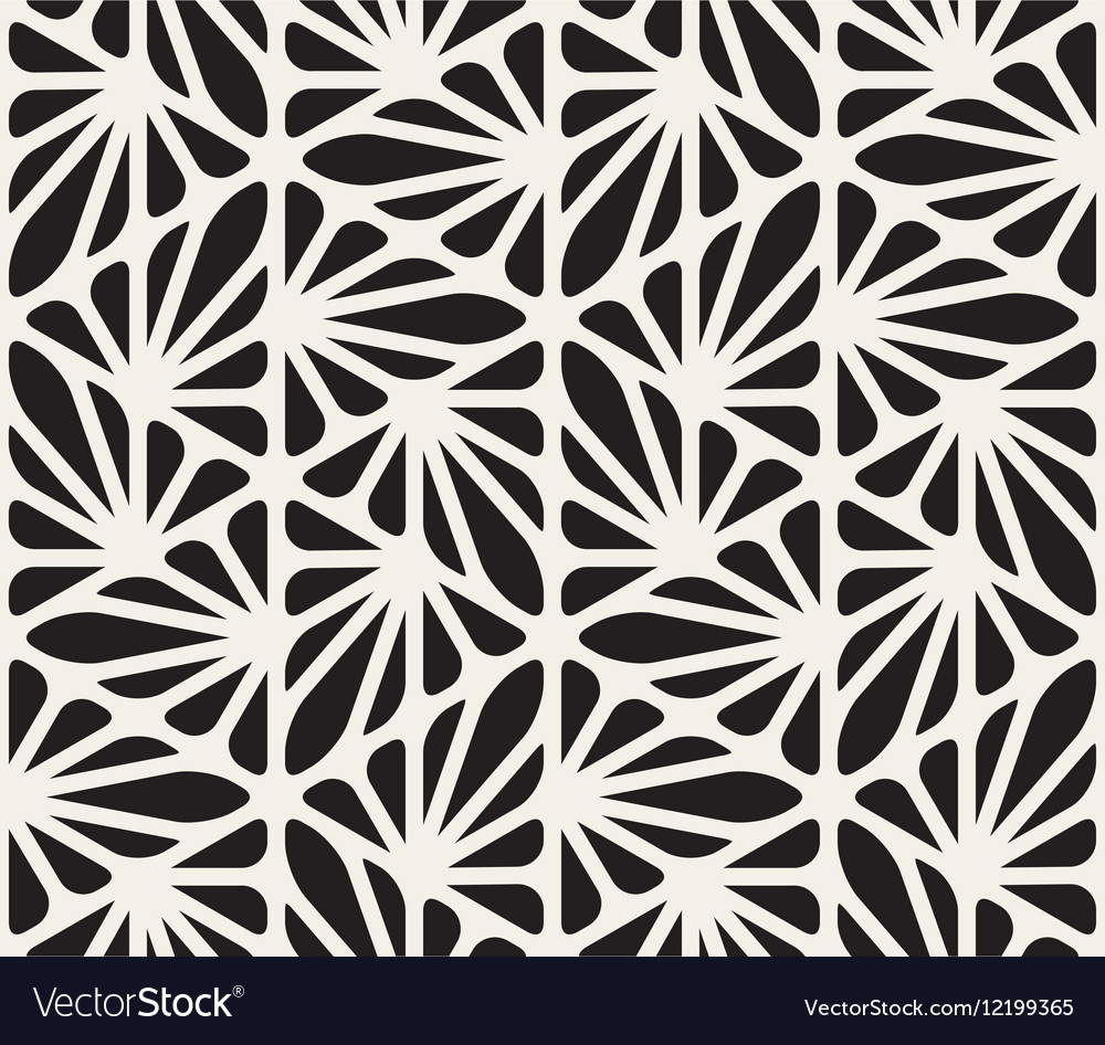 Seamless Black and White Floral Organic