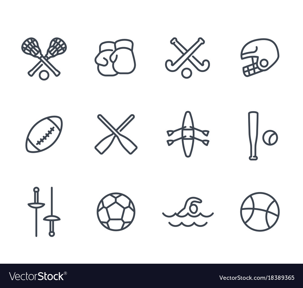 Sports and games line icons on white