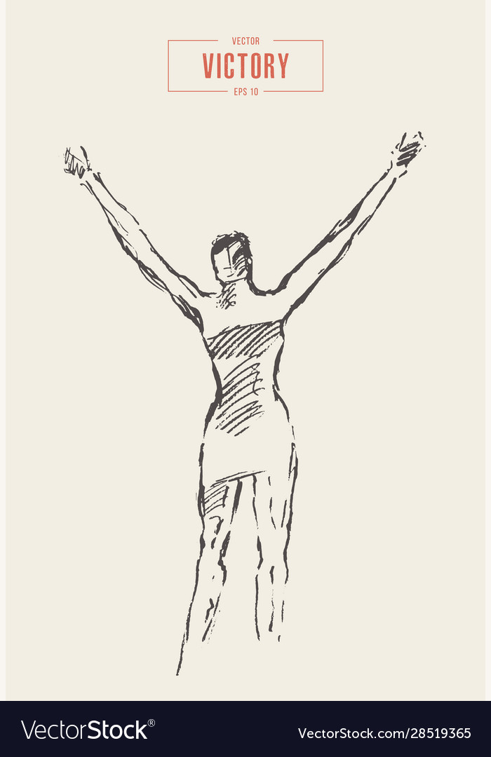 Woman hands up victory glory drawn sketch