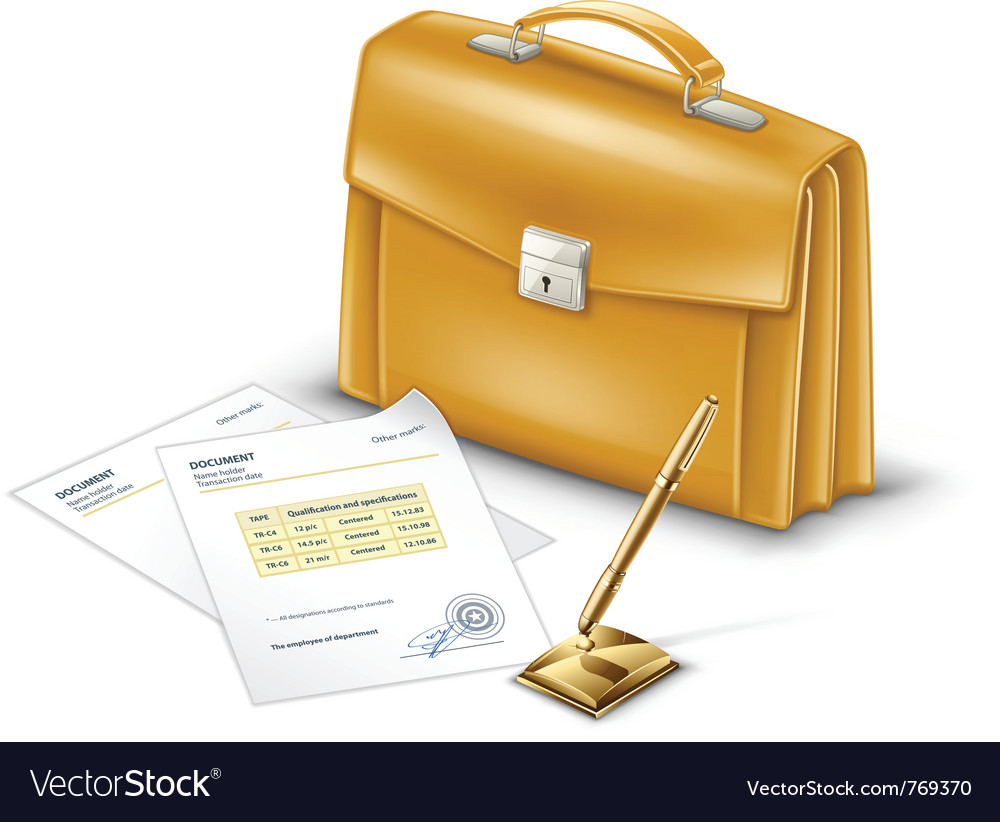 Business briefcase with documents and pen