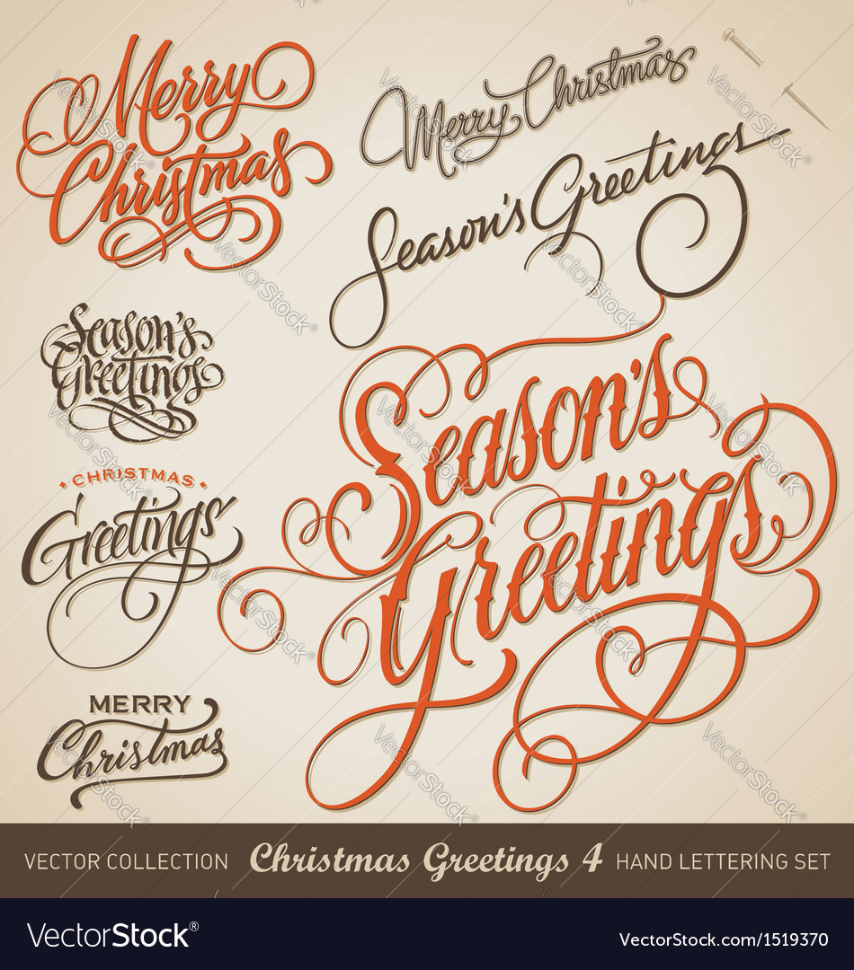 CHRISTMAS GREETINGS hand lettering set