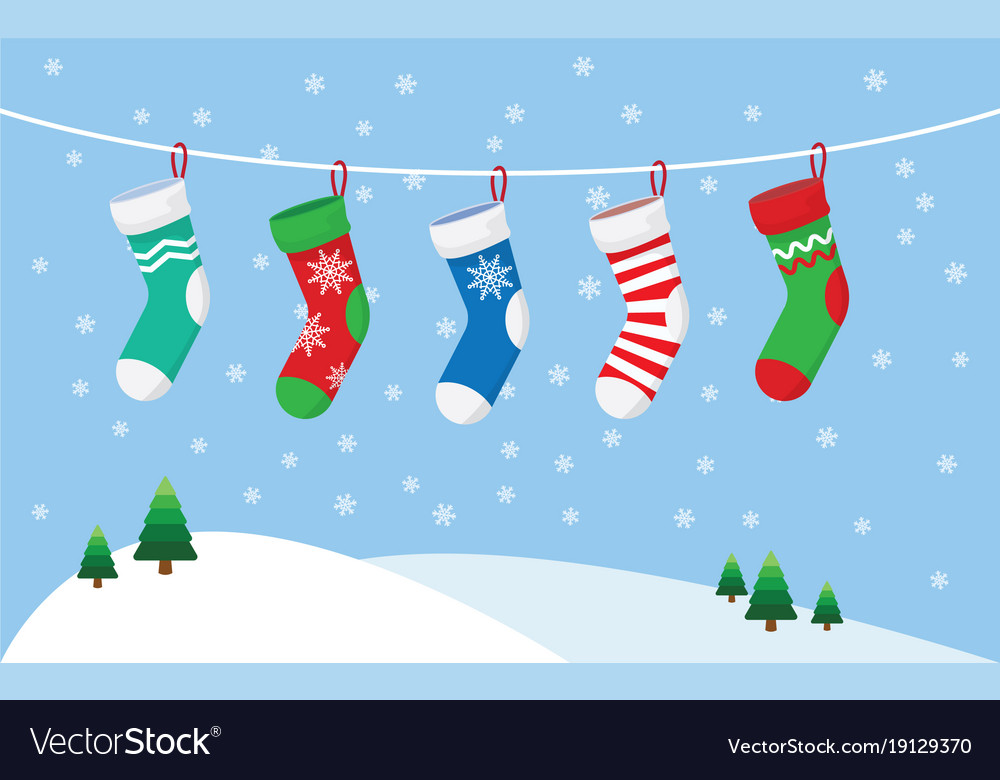 separation shoes 55004 1c845 Christmas stockings for presents hanging on a rope