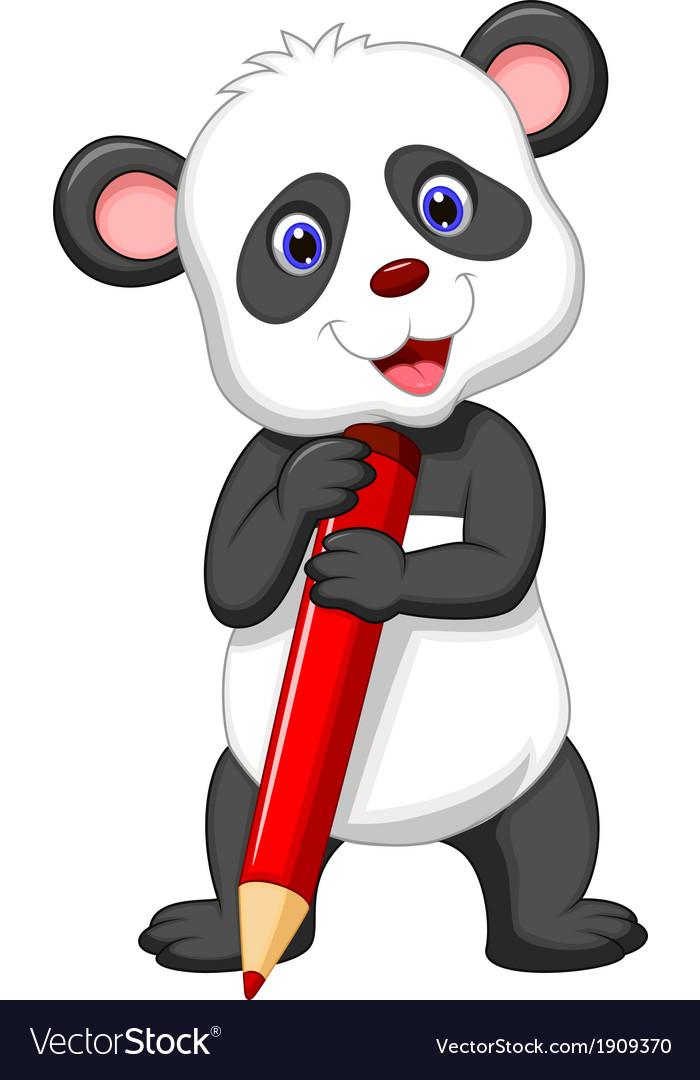 Cute panda bear cartoon holding red pencil vector image