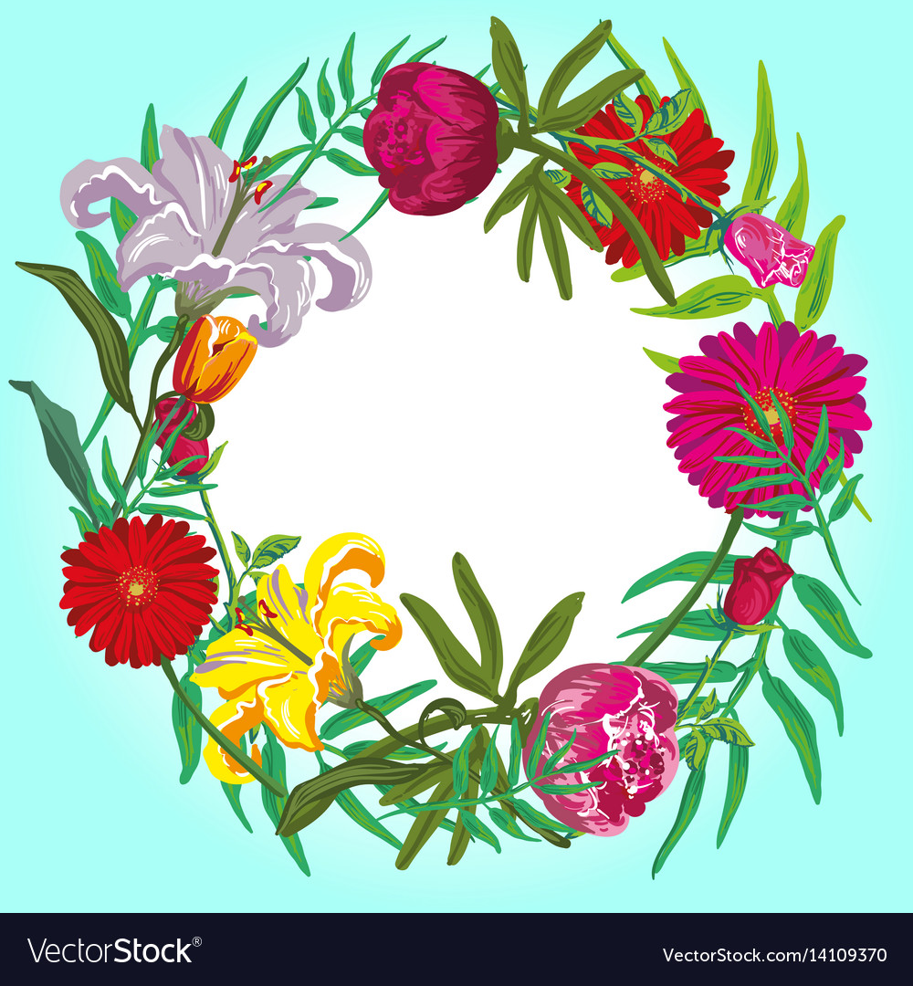 Floral colorful round frame card template
