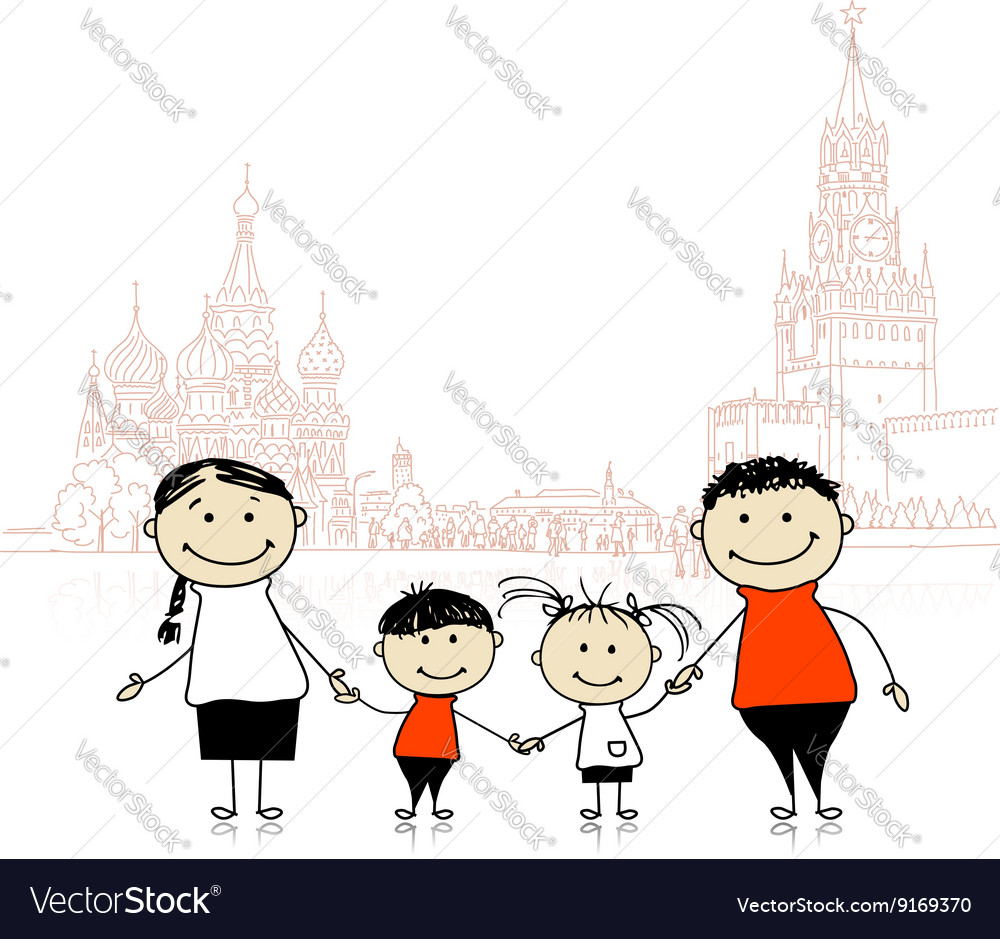 Happy family traveling in Moscow Sketch for your vector image