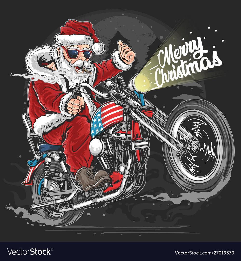Biker Christmas.Santa Claus Christmas Usa America Tour Biker Motor