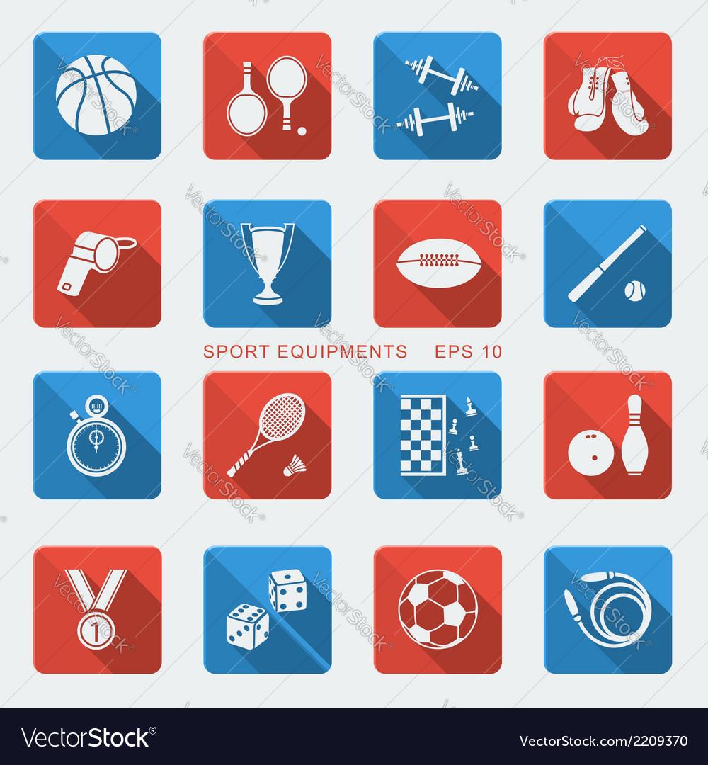 Set of Sport equipments of flat design