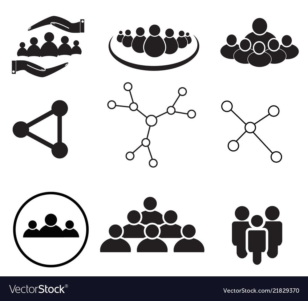 Set of team work icon on white background group