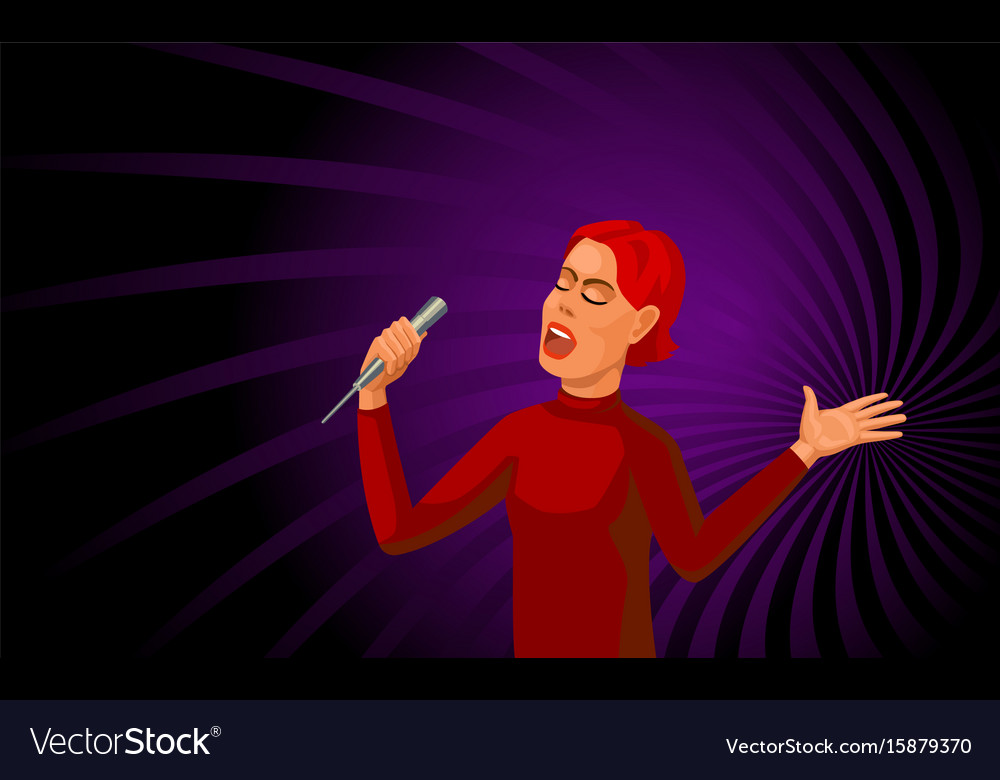 Singing woman with microphone vector image