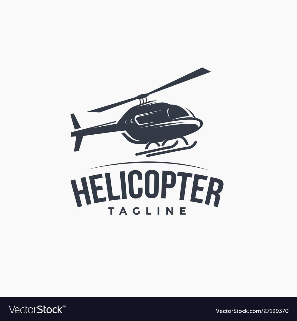 Vintage logo flying helicopter