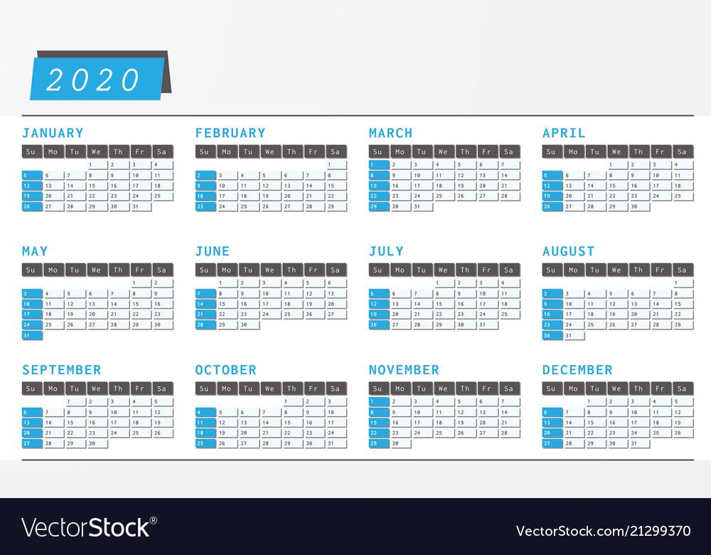 Office Calendar 2020 Year calendar 2020 office horizontal design Vector Image