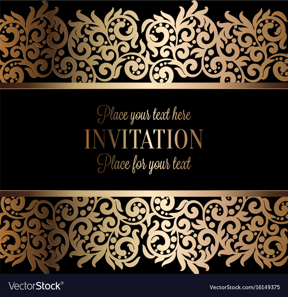 Antique baroque wedding invitation gold on black Vector Image