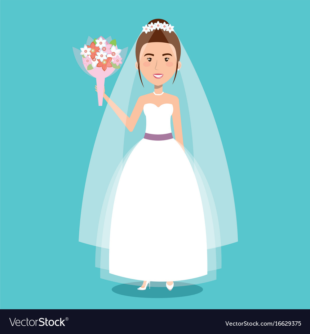 Beautiful bride in a wedding dress and bouquet vector image