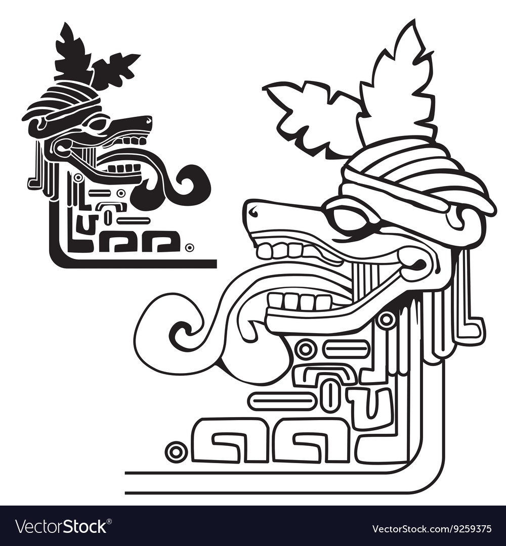 Black and white mayan idol vector image