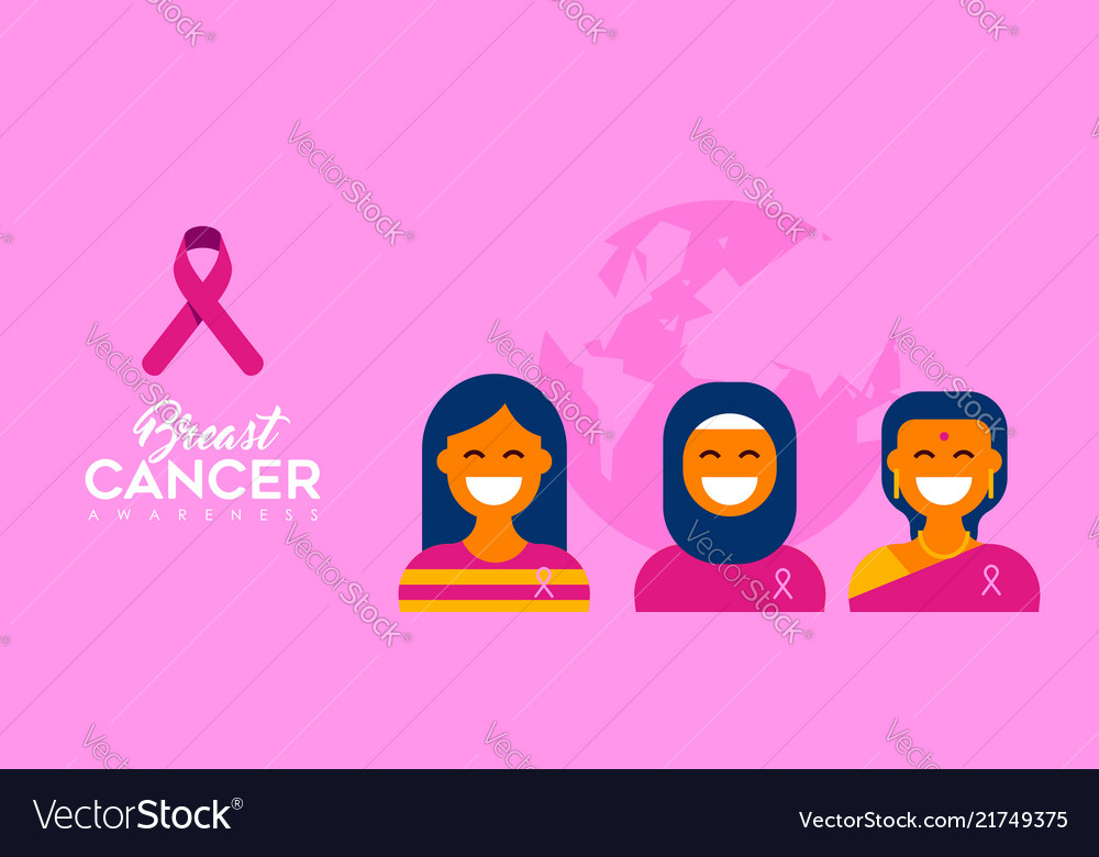 Breast cancer care diverse girl group for support