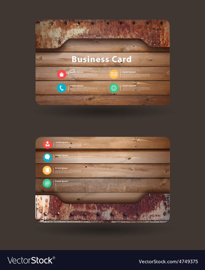 Business card template with wood texture vector image reheart Choice Image