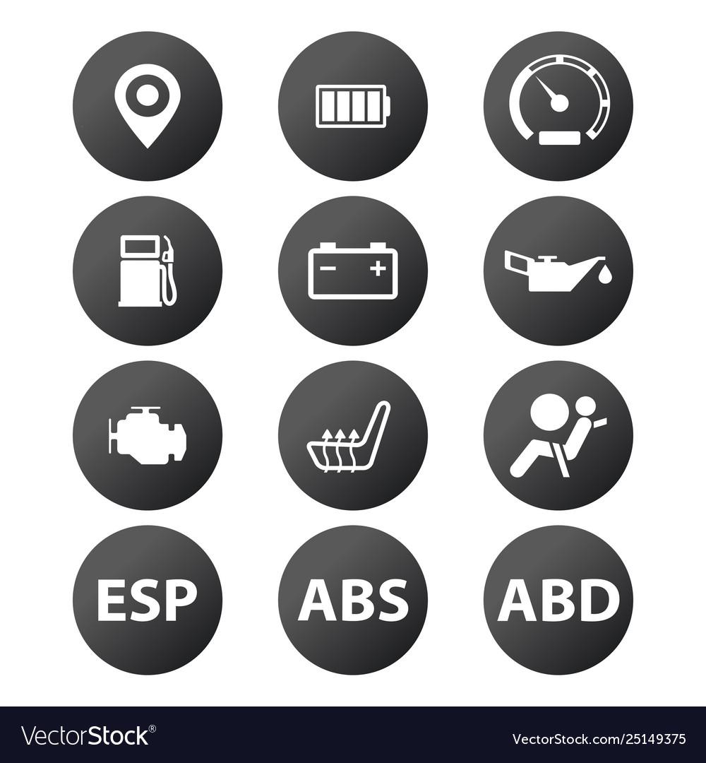 Car dashboard panel indicators white in black