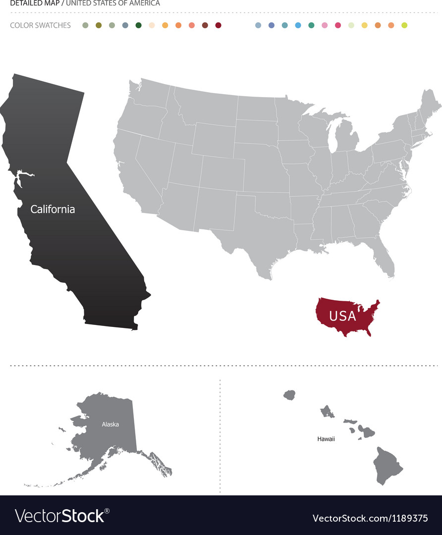 Detailed usa map Royalty Free Vector Image - VectorStock