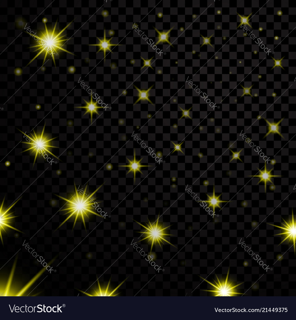 Gold light stars on black transparent background