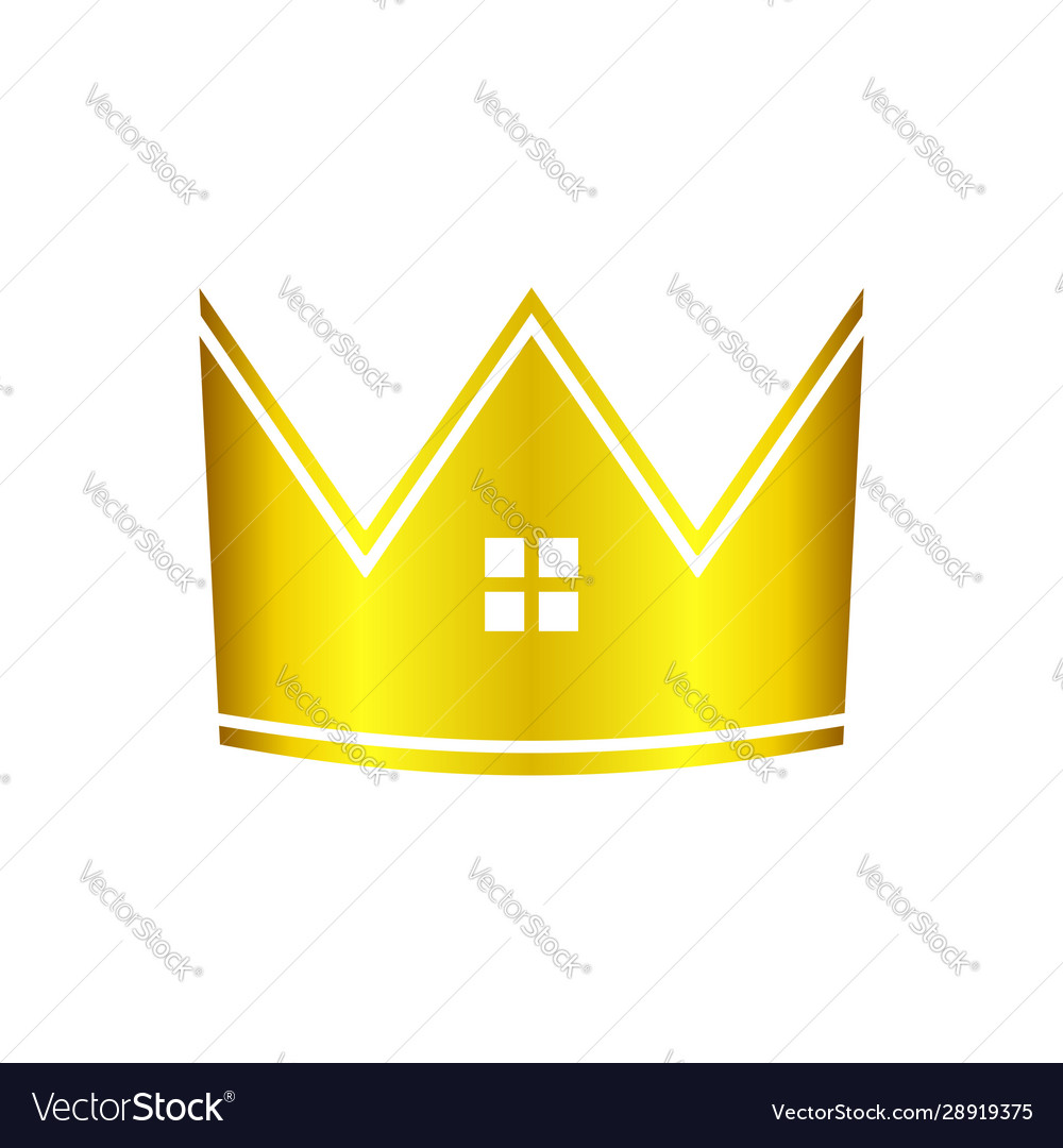 Golden real estate house crown graphic icon design