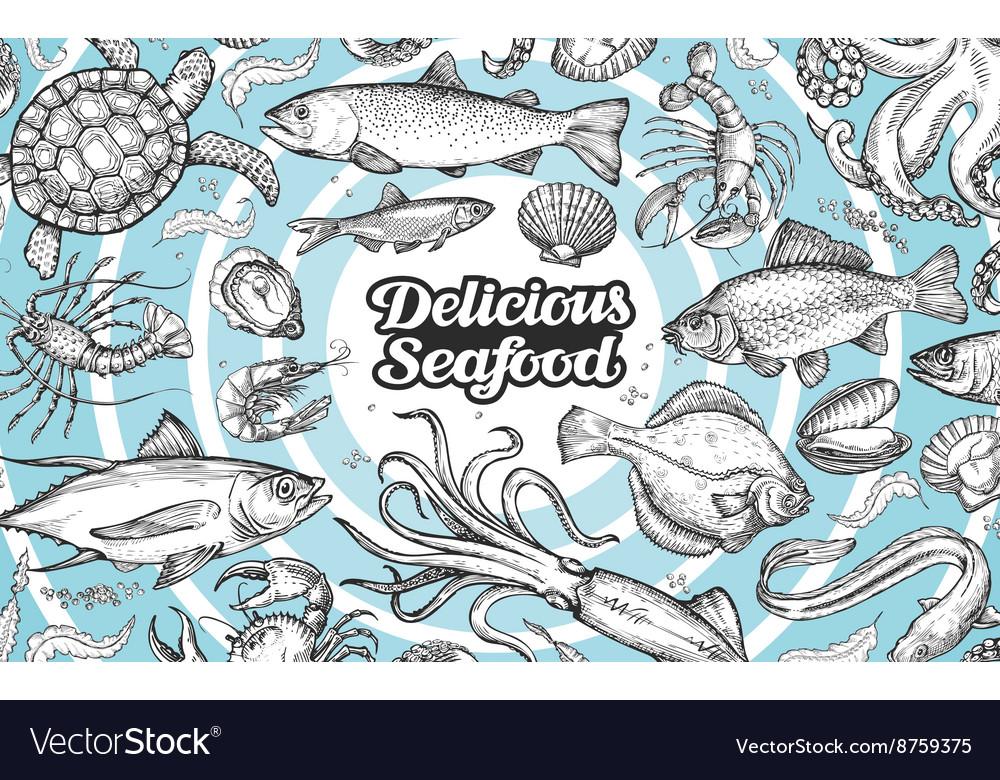 Hand drawn seafood food Vintage