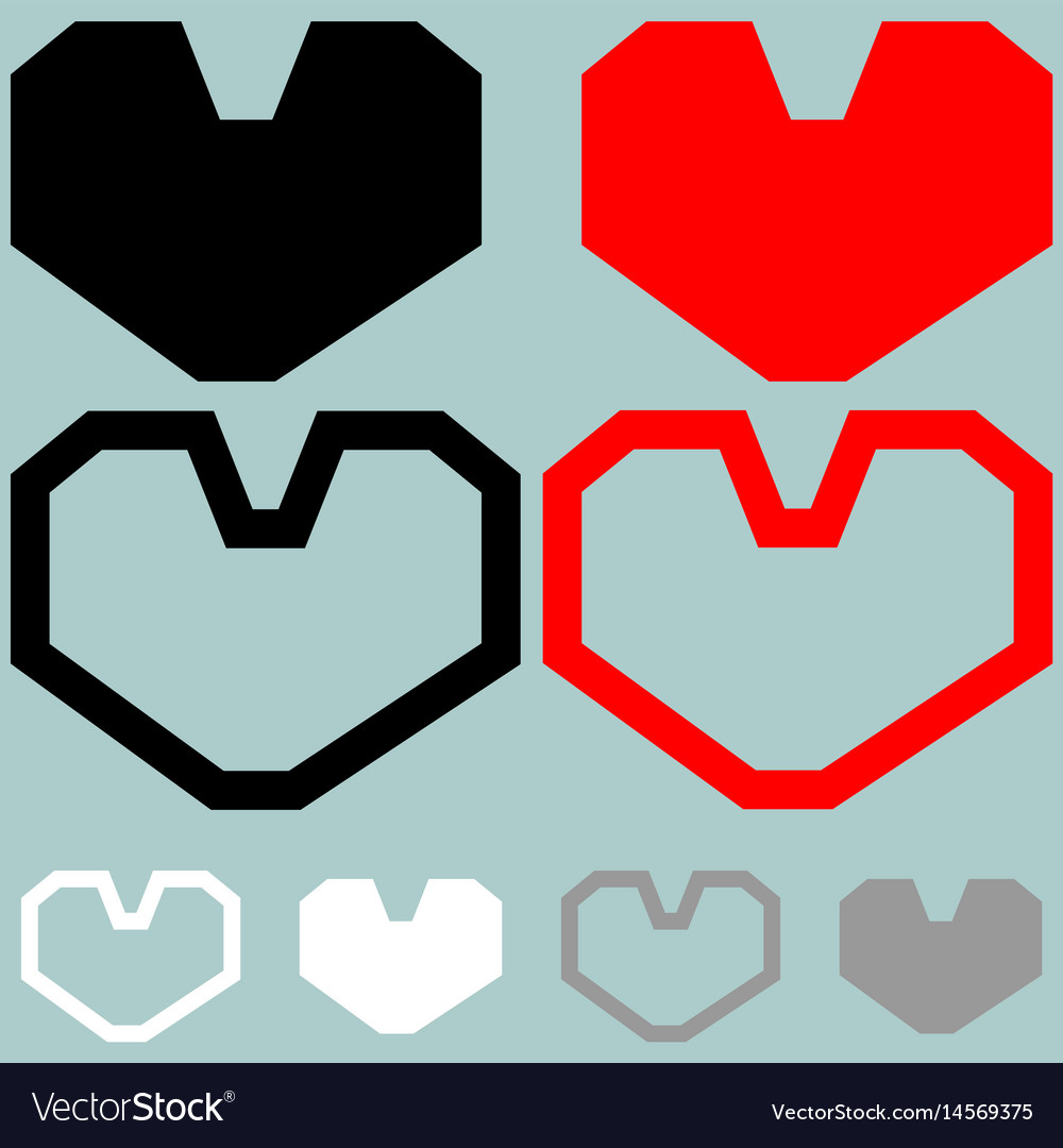 Heart red black white colour