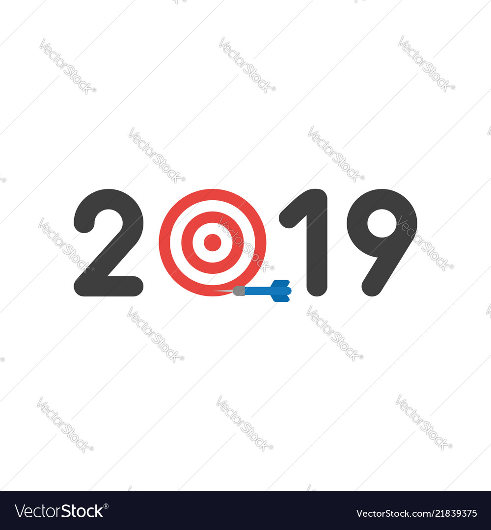 Icon concept of year of 2019 with bulls eye and