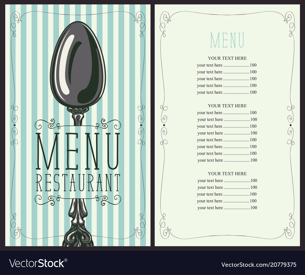 Restaurant menu with price list and spoon