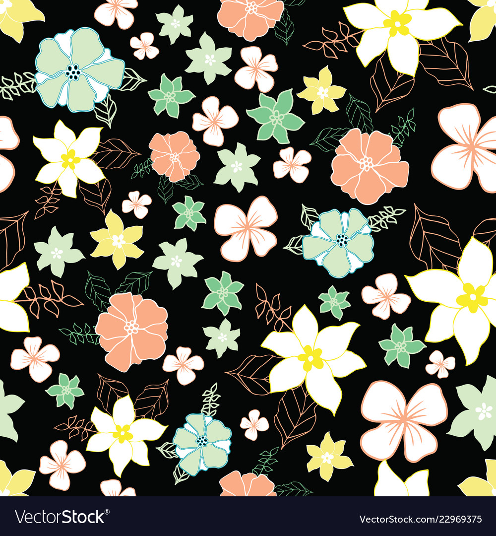 Seamless Repeat Floral Pattern On Black Background