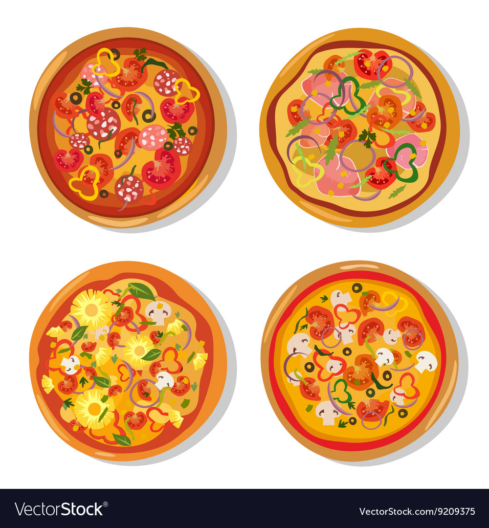 Set of flat hot pizza icons Pizza isolated on