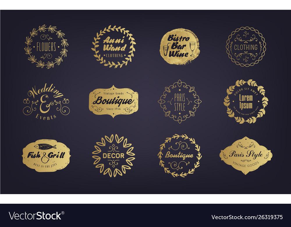 Set vintage golden business badges