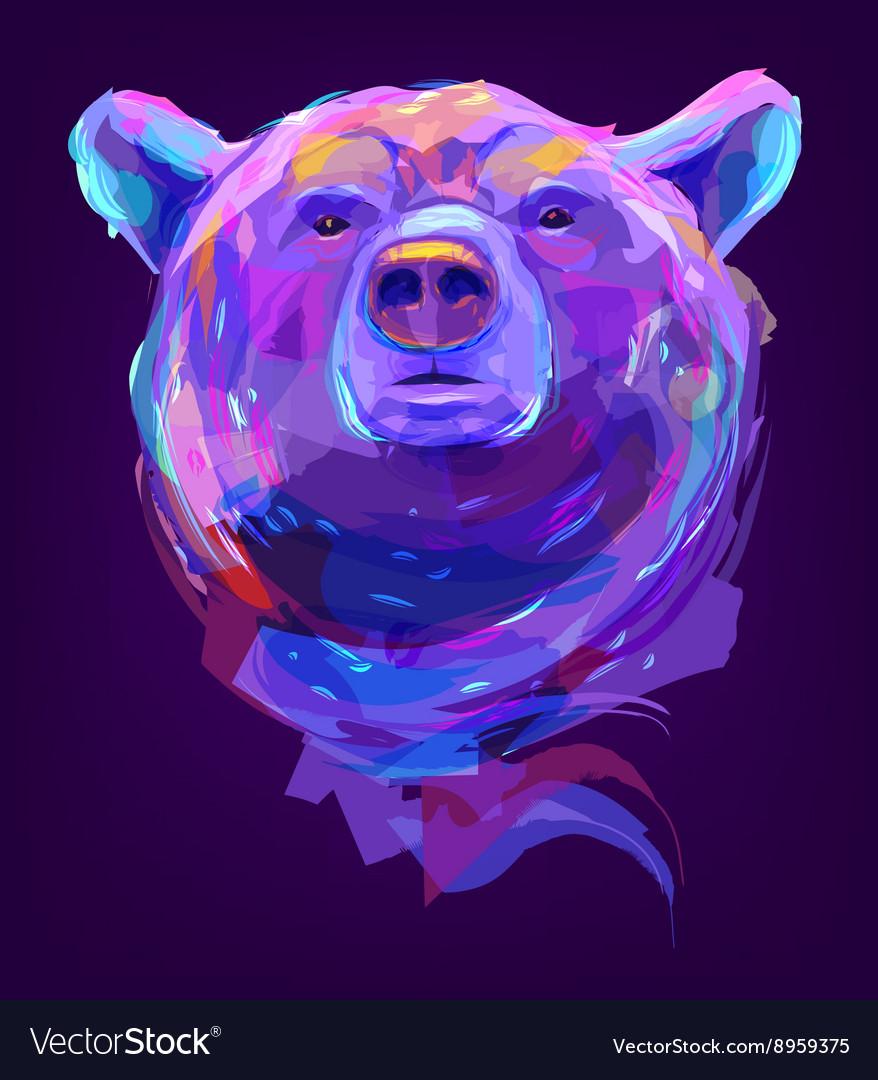 The cute colored bear head