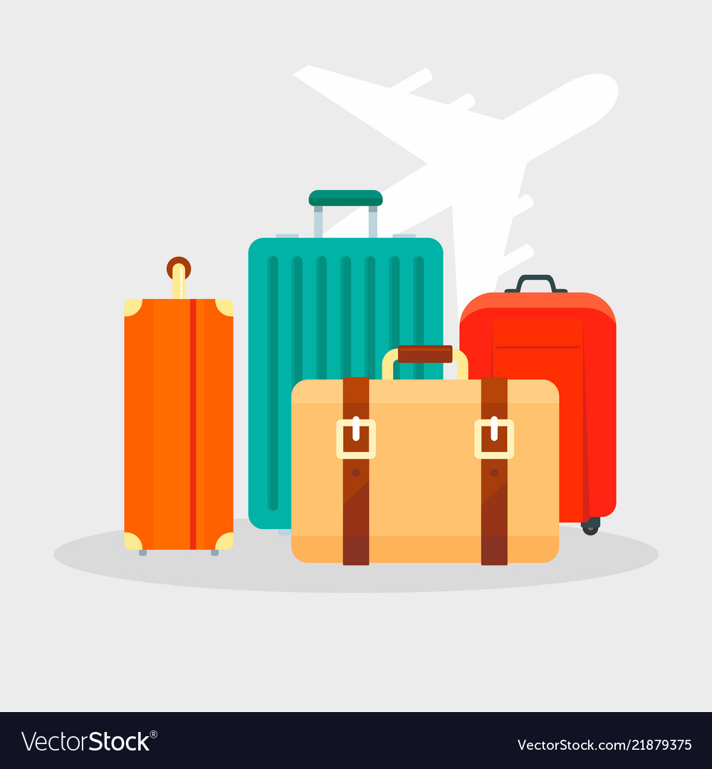 Travel bag concept background flat style
