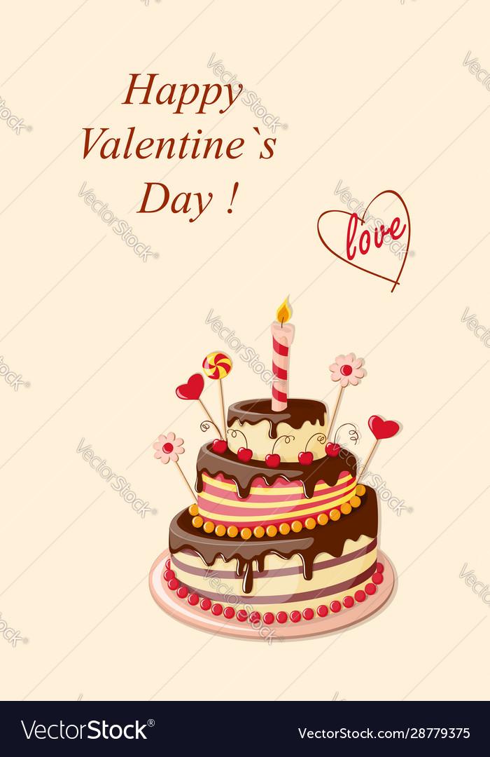 Surprising Valentine Cake Royalty Free Vector Image Vectorstock Funny Birthday Cards Online Inifofree Goldxyz