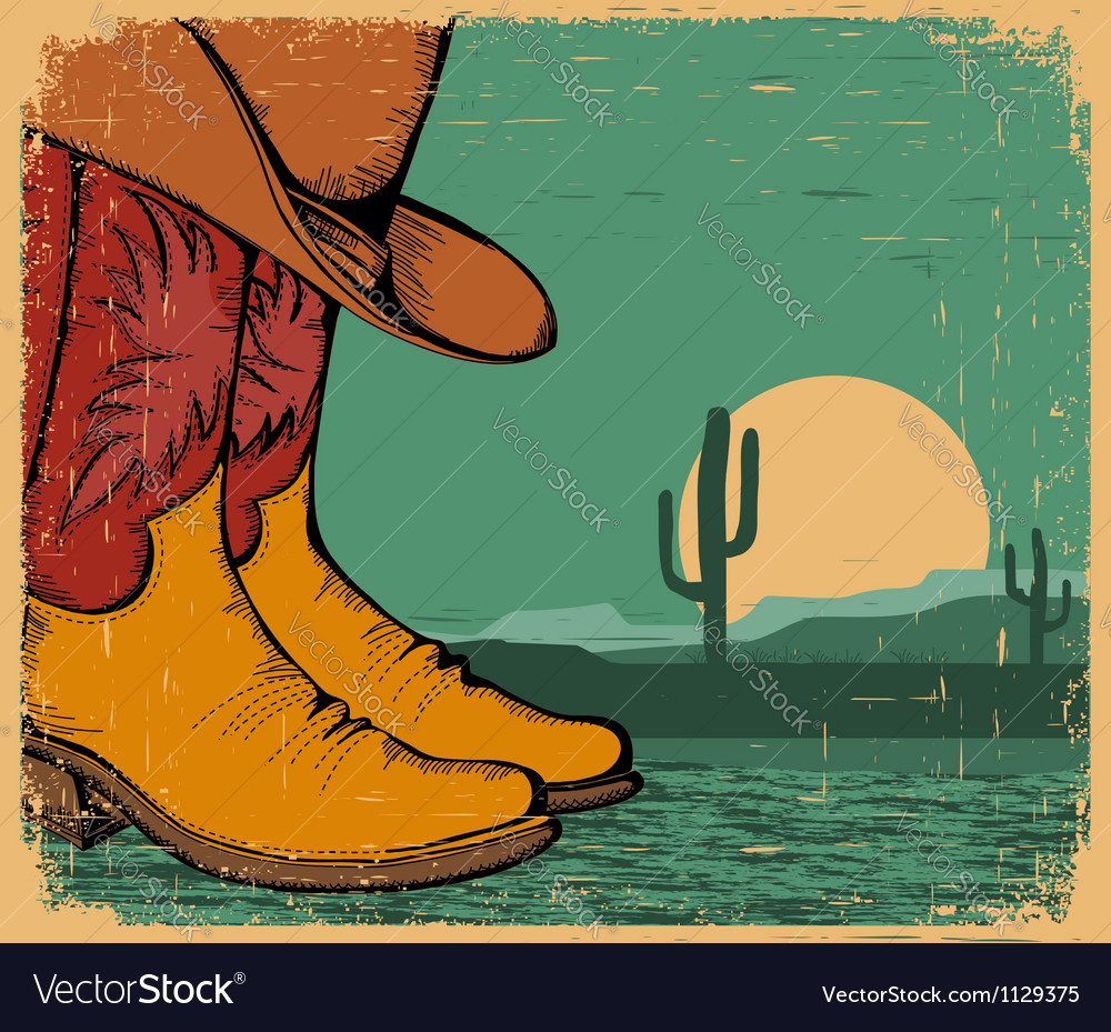 Western background with cowboy shoes and desert