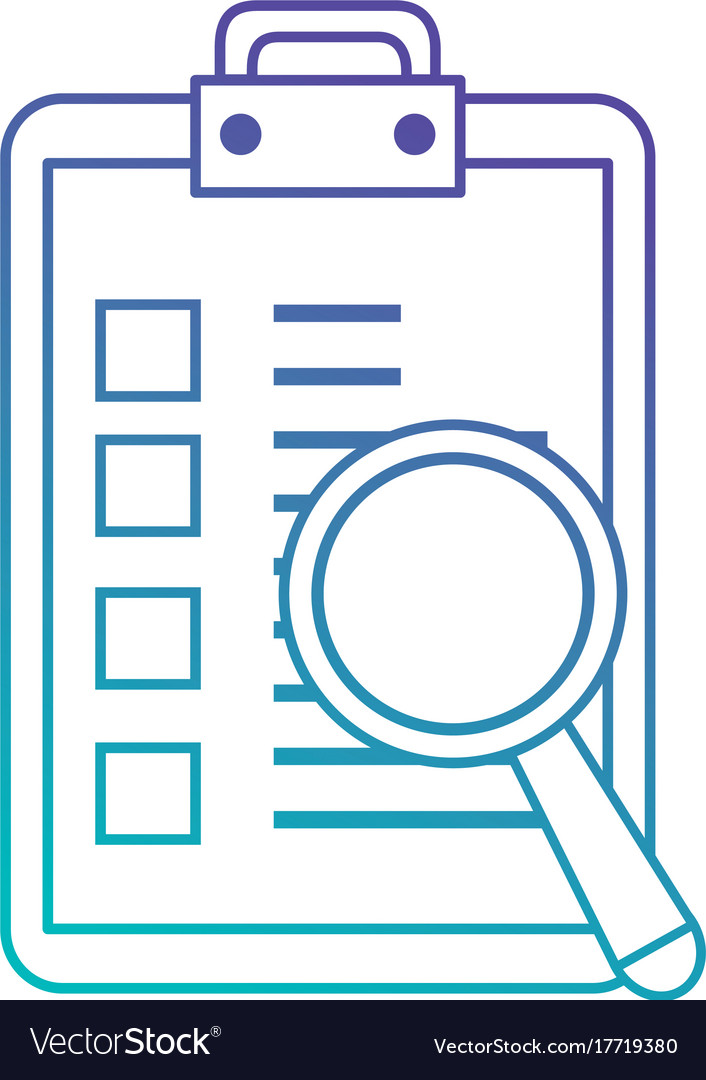 checklist clipboard with magnifying glass vector image