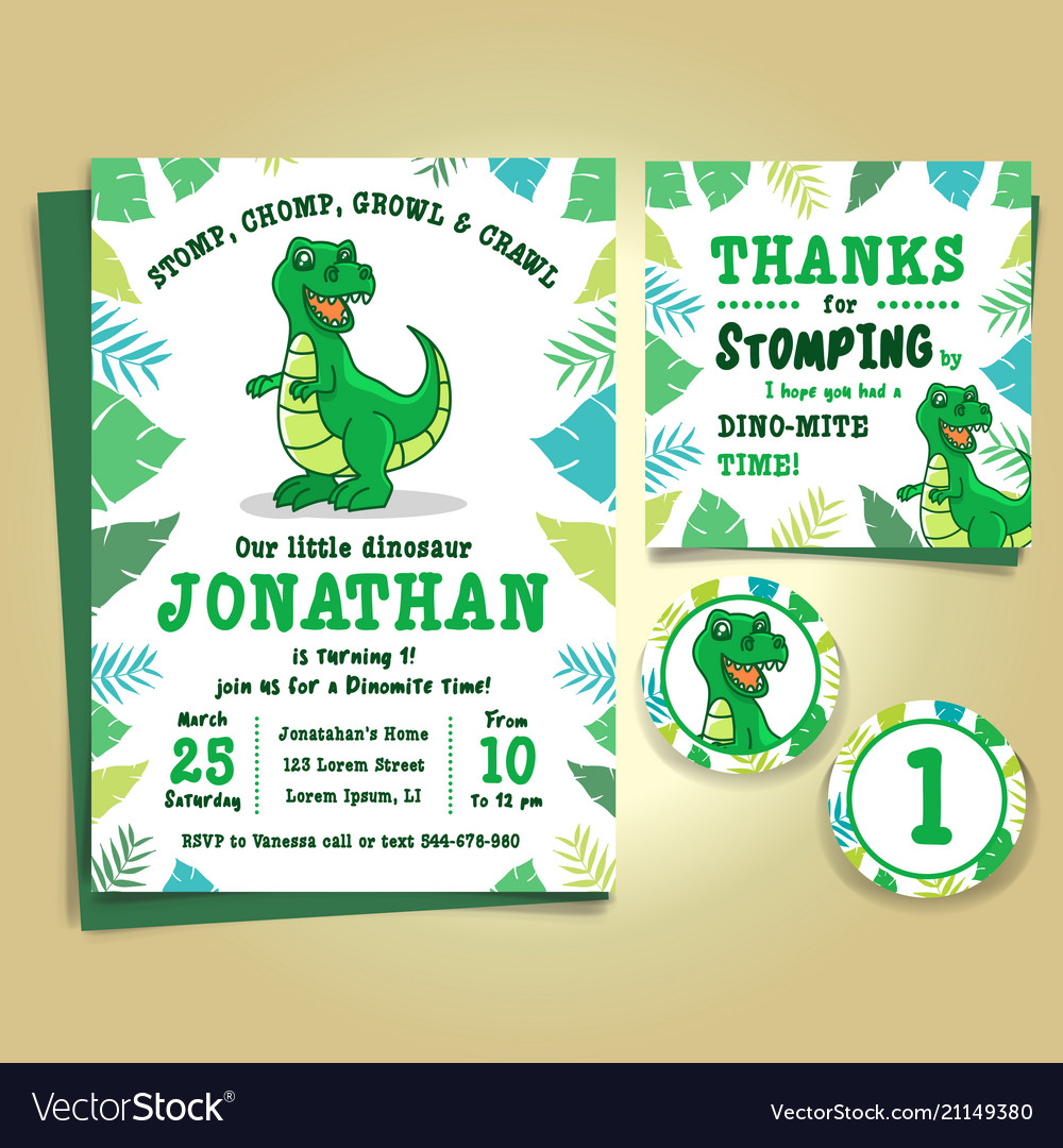 Dinosaur birthday party invitation royalty free vector image dinosaur birthday party invitation vector image stopboris Images