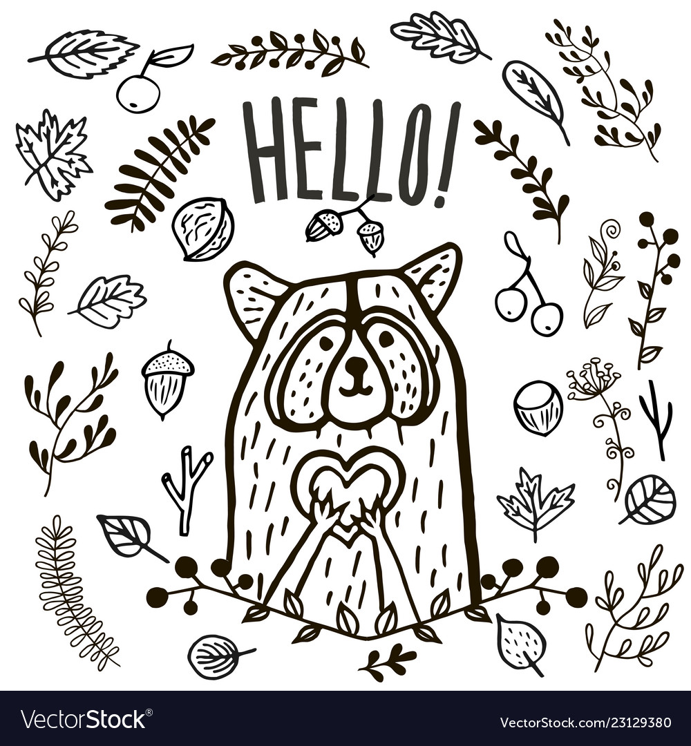 Hand drawn cute raccoon hello