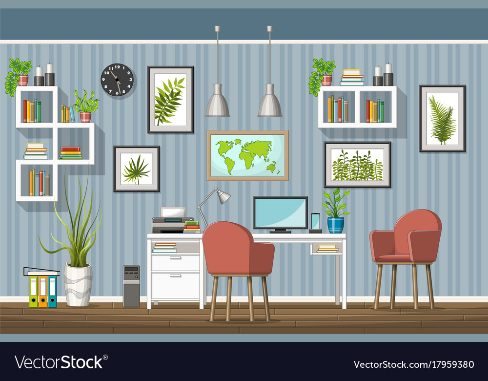 Interior Equipment Of A Modern Home Office Vector Image
