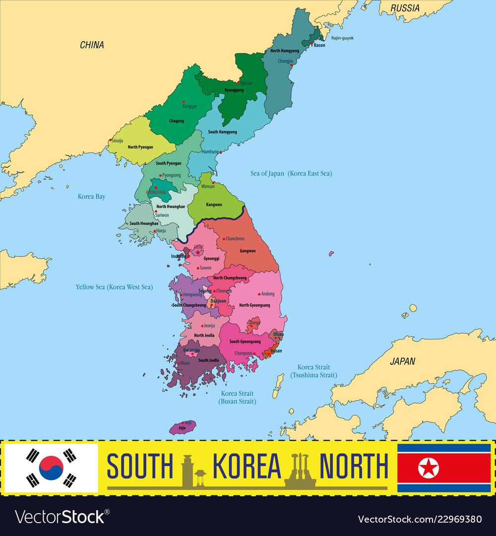 Korea map Royalty Free Vector Image - VectorStock