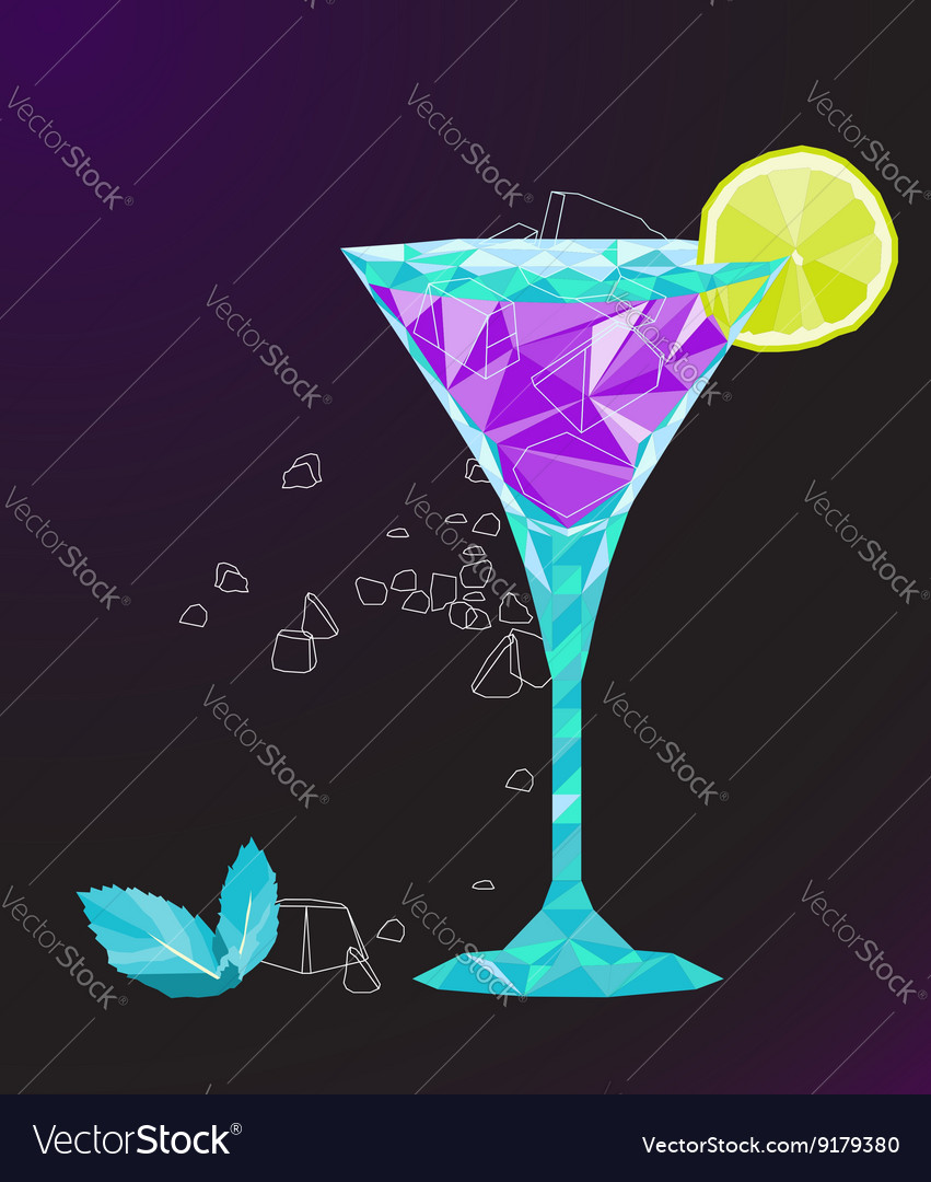 Low poly martini cocktail