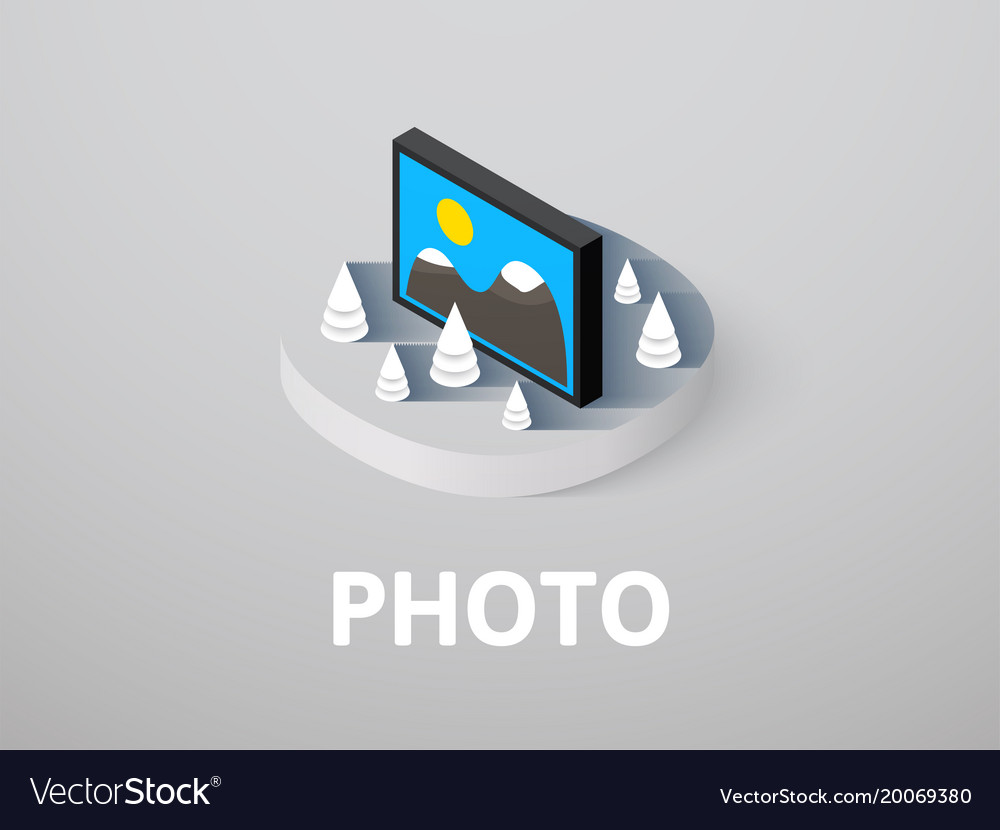 Photo isometric icon isolated on color background vector image