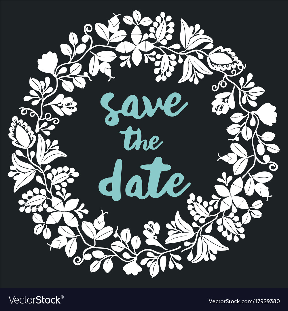 Save the date with white wreath on black