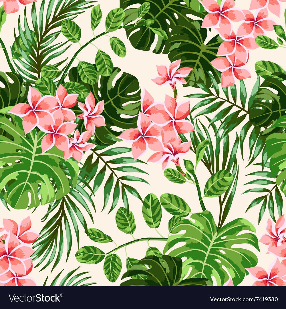 seamless exotic pattern with tropical leaves and f