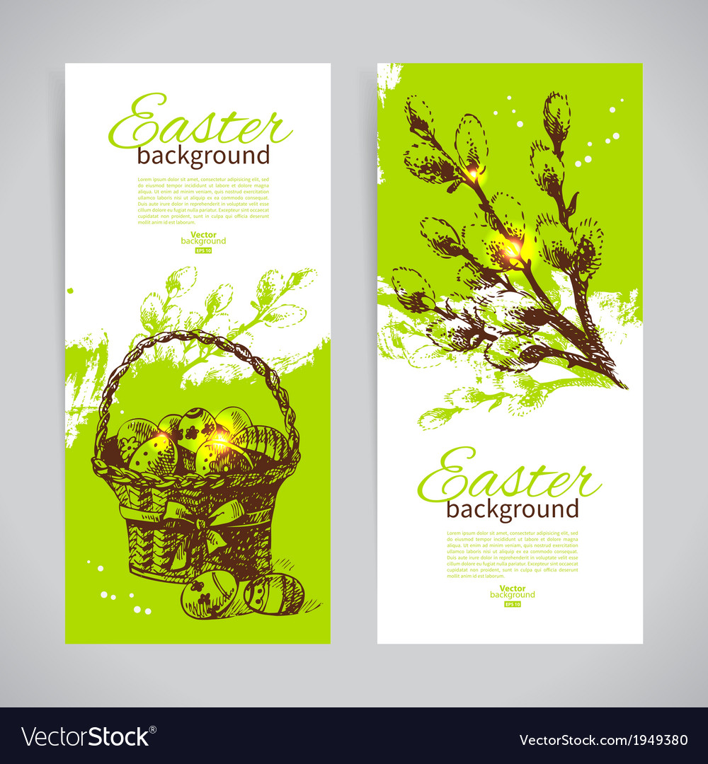 Set of vintage Easter banners